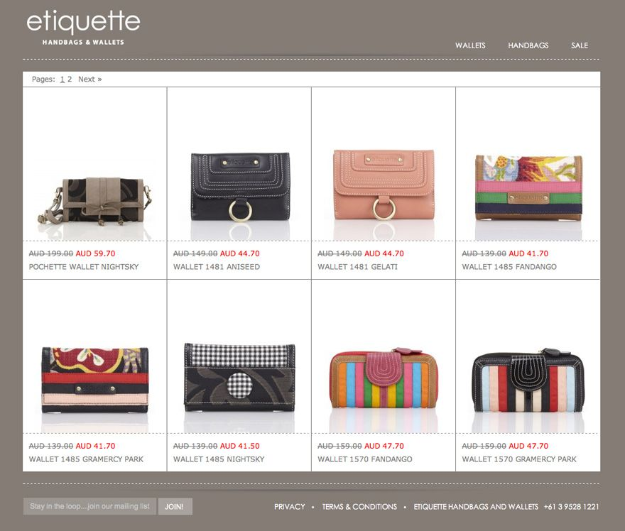 BigCommerce Online Store - Etiquette Handbags- bigcommerce features
