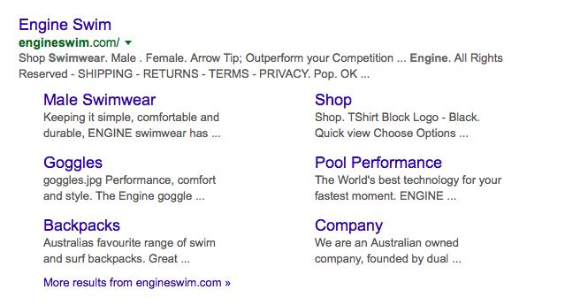 Engine Swim Big commerce Google Page 1