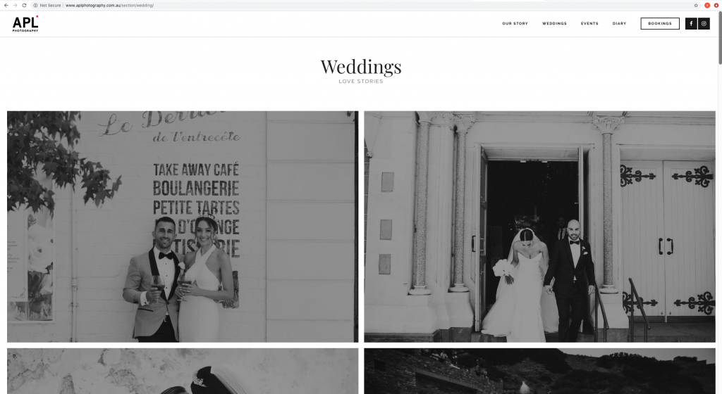 Website optimisation - weddings landing page