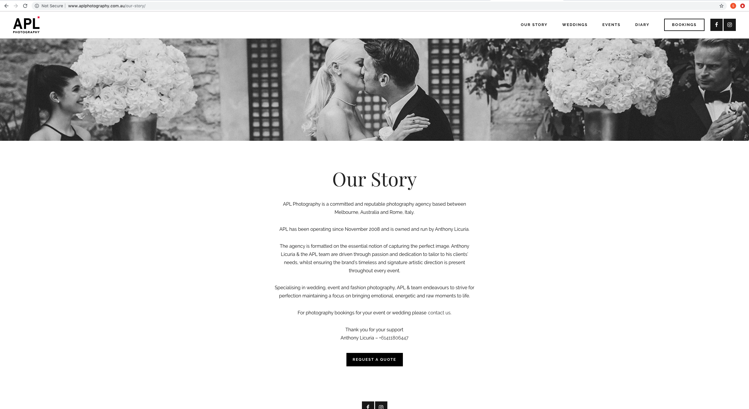 our story APL photography website