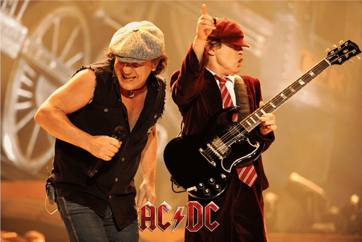 2 members of AC/DC playing during the Australian Tour