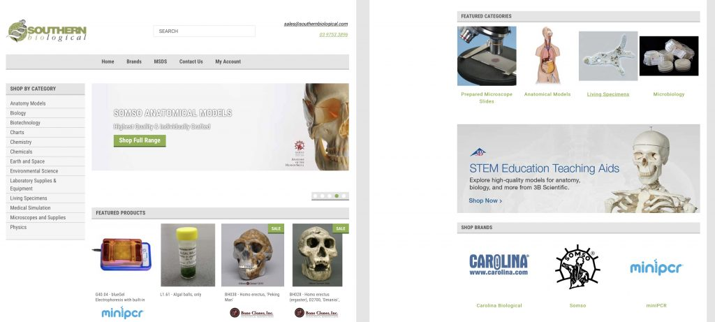 Medical eCommerce Website Design Before